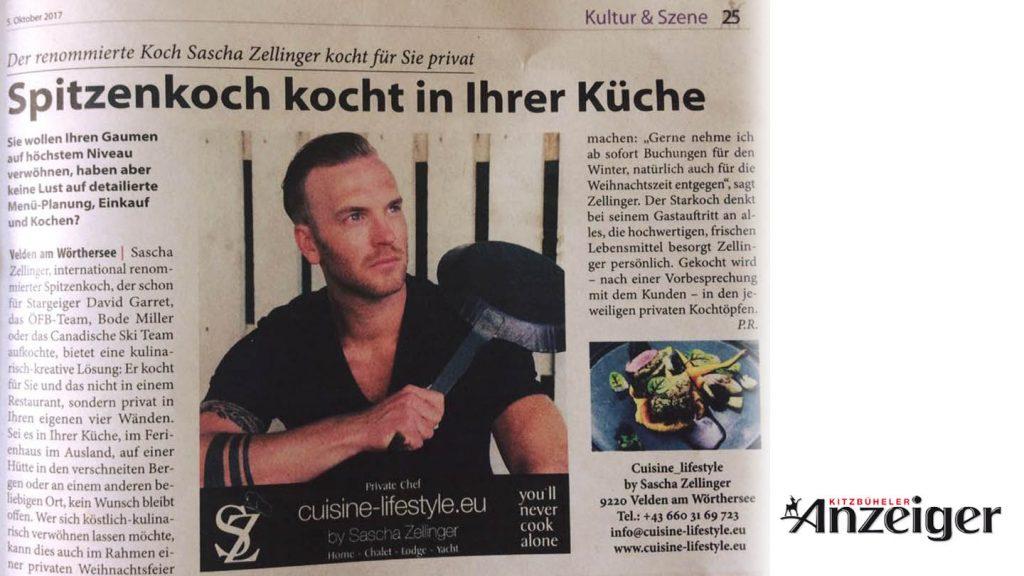 Cuisine-Lifestyle im Kitzbühler Anzeiger am 5. Oktober 2017