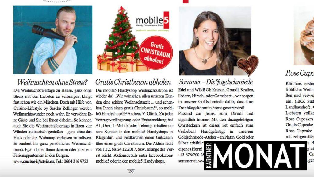 Cuisine-Lifestyle im Kärntner MONAT - Ausgabe Dezember 410 12/17