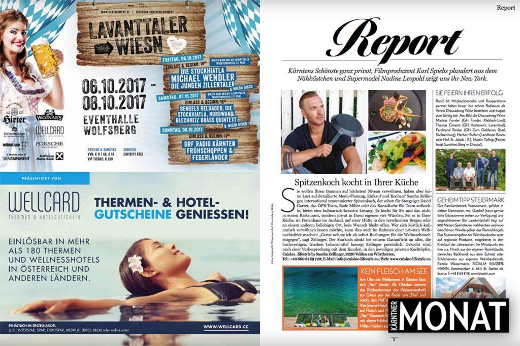 Cuisine-Lifestyle im Kärntner MONAT - Ausgabe Oktober 408 10/17