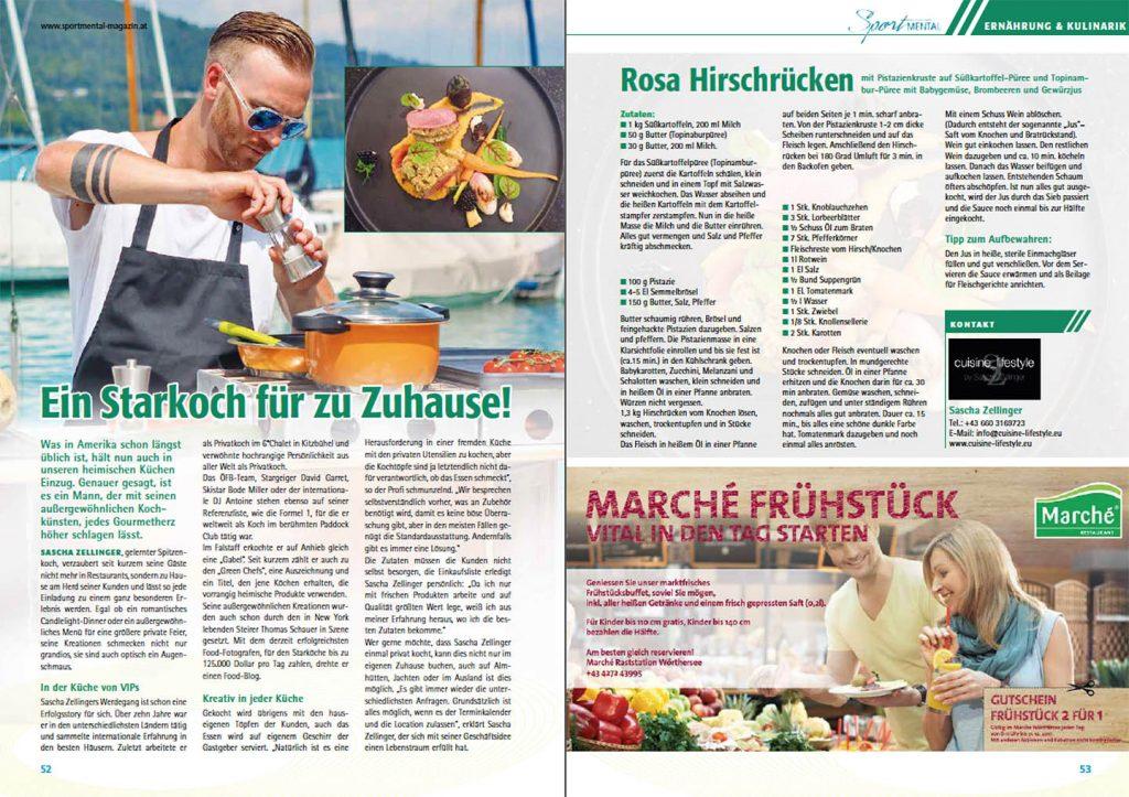 Cuisine-Lifestyle im Sport-Mental Magazin - Ausgabe 15/2017 mit Rezept für rosa Hirschrücken