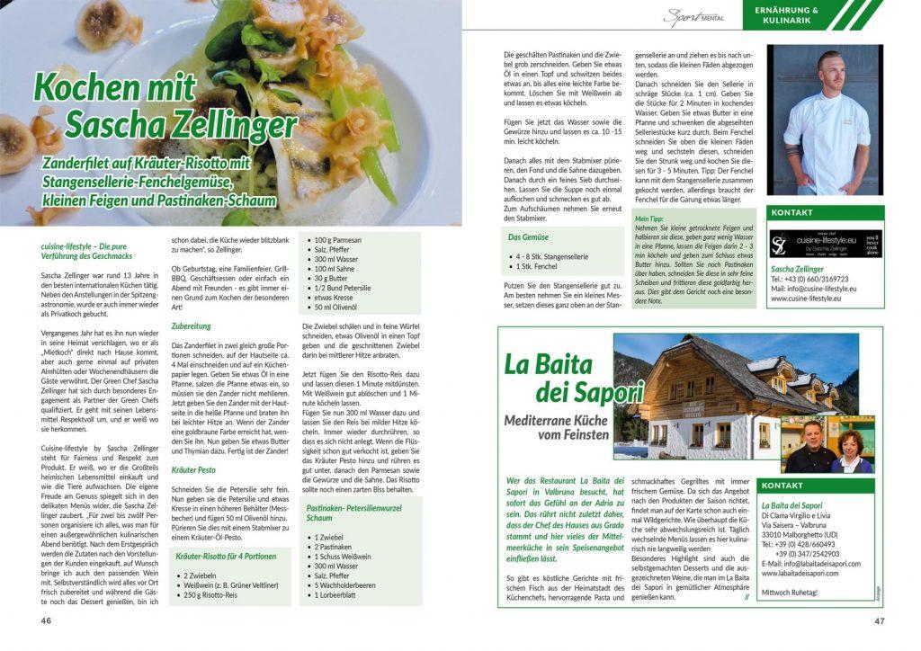 Cuisine-Lifestyle im Sport-Mental Magazin - Ausgabe 16/2018 mit Zanderfilet auf Kräuter-Risotto mit Stangensellerie-Fenchelgemüse, kleinen Feigen und Pastinaken-Schaum